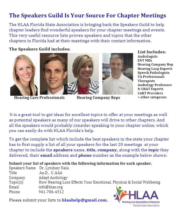 HLAA Florida Speakers Guild - Chapter Meetings
